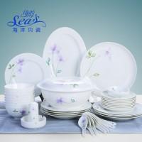 海洋贝瓷42头中式餐具碗碟套装陶瓷餐具套装碗盘家用碗勺盘子