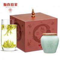 梅府茗家茶叶 2018新茶 绿茶 西湖龙井茶狮峰山明前精品手工茶瓷瓶礼盒100g春茶