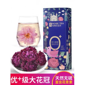 玫瑰花冠茶 30g 山东平阴重瓣红玫瑰 特级大花冠 富硒种植无熏硫无色素 芳蕾